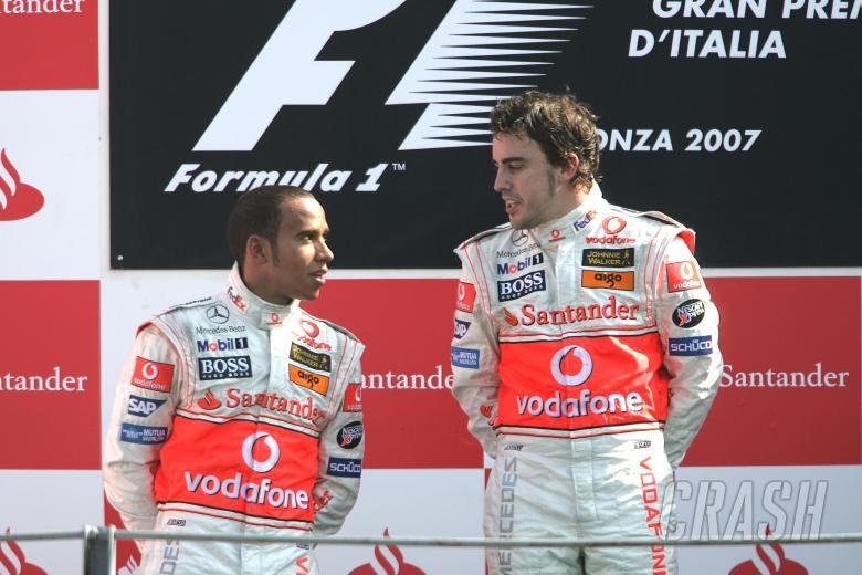 , - Lewis Hamilton (GBR) McLaren MP4/22, Fernando Alonso (ESP) McLaren MP4/22,Italian F1, Monza, 7-9th,