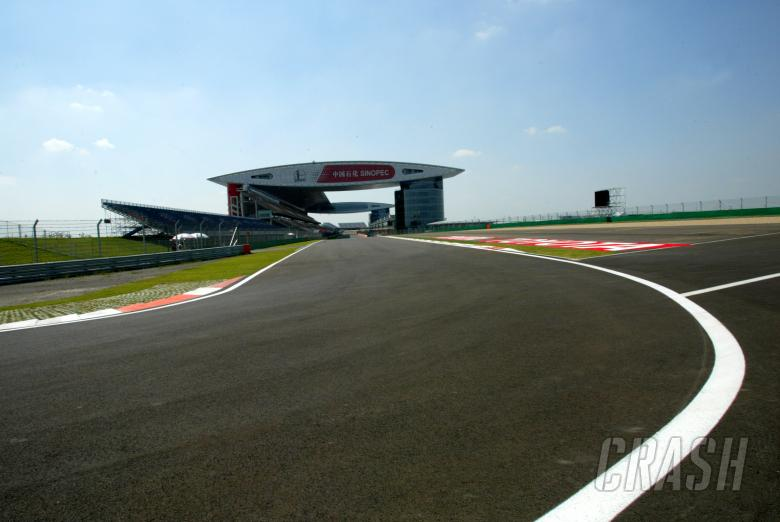The view of the pit straight at the Shanghai International Circuit from the last corner