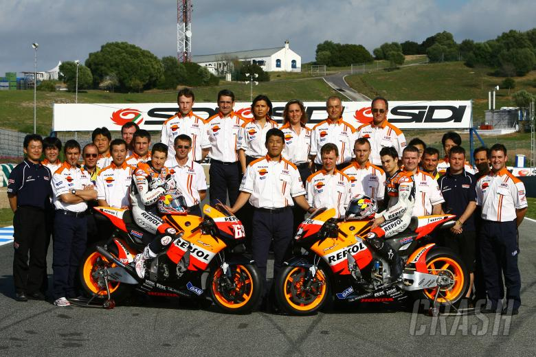 Hayden, Pedrosa and team, Spanish MotoGP 2008