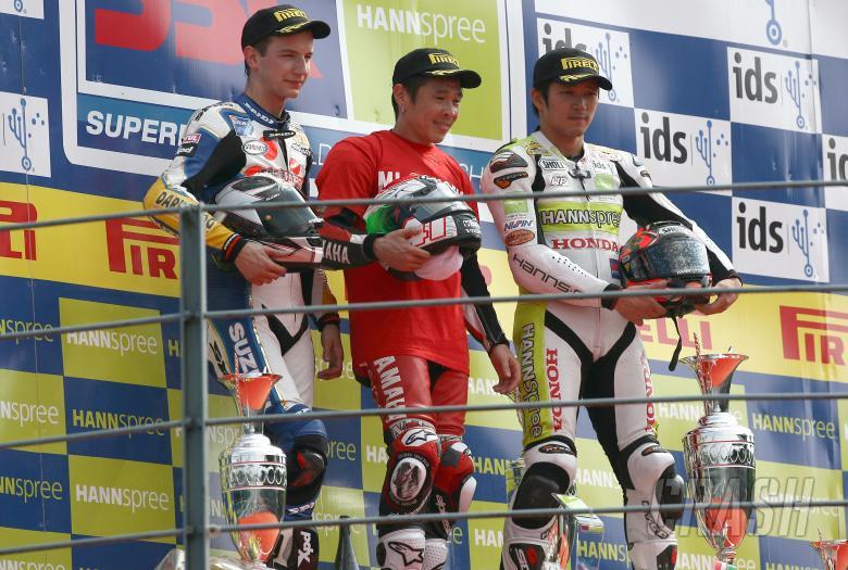 Neukirchner, Haga, Kiyonari, Italian WSBK Race 2 2008