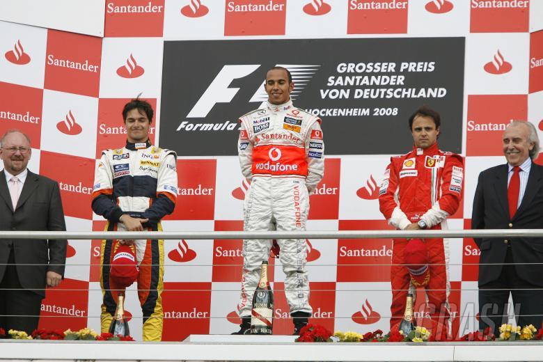 , - Nelson Piquet (BRA) Renault R28, Lewis Hamilton (GBR) McLaren MP4-23, Felipe Massa (BRA) Ferrari F20