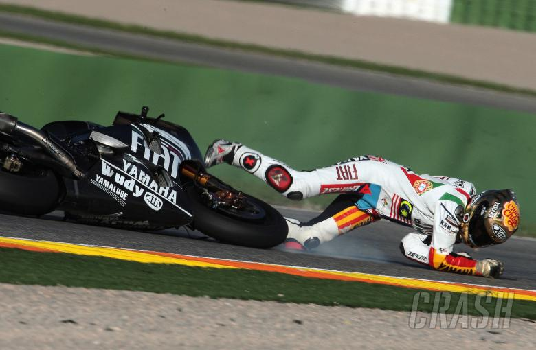 Lorenzo crash, Valencia MotoGP Tests 2008