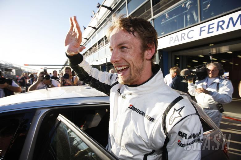 Jenson Button (GBR) Brawn BGP001 Celebrates Pole Position, Australian F1 Grand Prix, Albert Park, Me