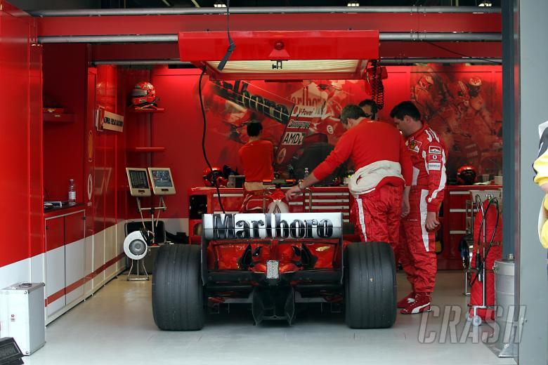 The retired Ferrari of Michael Schumacher at the Australian Grand Prix