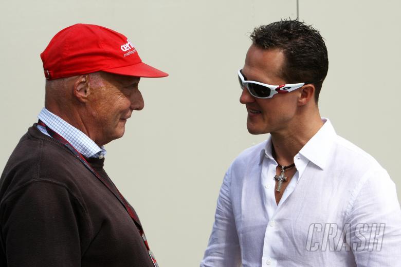 Niki Lauda (AUT) & Michael Schumacher, Mercedes GP MGP W01