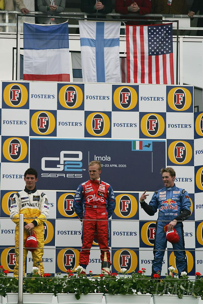 , - Scott Speed finds time to be irreverant during the first ever GP2 podium ceremony