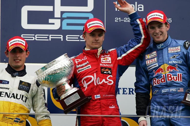 Heikki Kovalainen, Jose Maria Lopez and Scott Speed celebrate on the first-ever GP2 podium