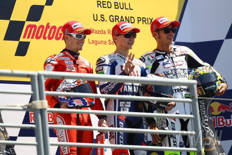 Stoner, Lorenzo, Rossi, USA MotoGP 2010