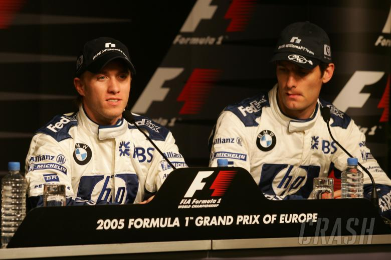 Nick Heidfeld and Williams team-mate Mark Webber at the qualifying press conference