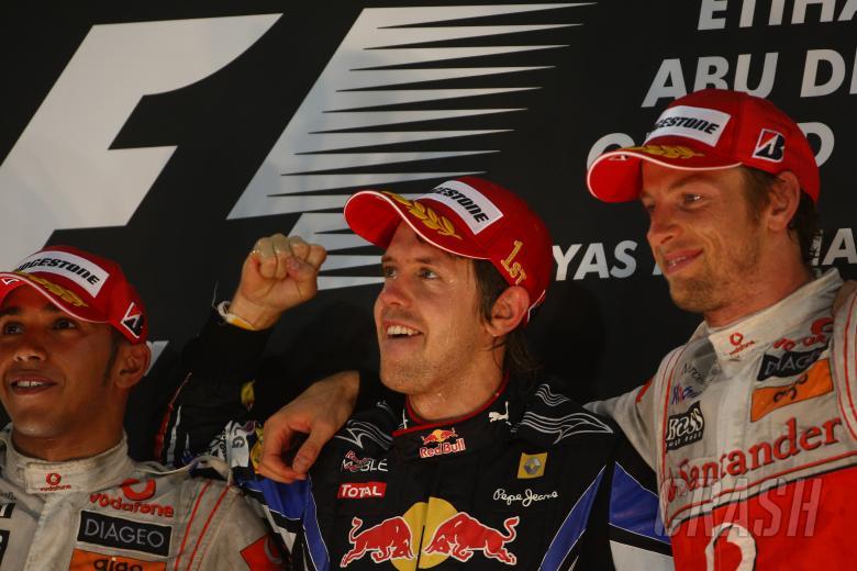 Race, Sebastian Vettel (GER), Red Bull Racing, RB6 race winner and Champion 2010, Lewis Hamilton (GB