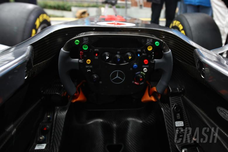 Steering wheel detail - Vodafone McLaren Mercedes MP4-26 Launch