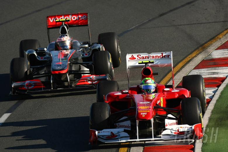 27.03.2011- Race, Jenson Button (GBR), McLaren Mercedes, MP4-26 and Felipe Massa (BRA), Scuderia Fe