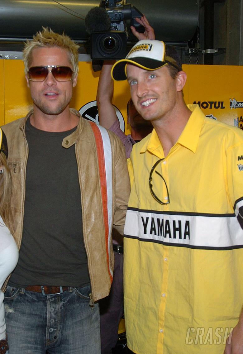 Brad Pitt and Edwards, U.S.MotoGP, 2005