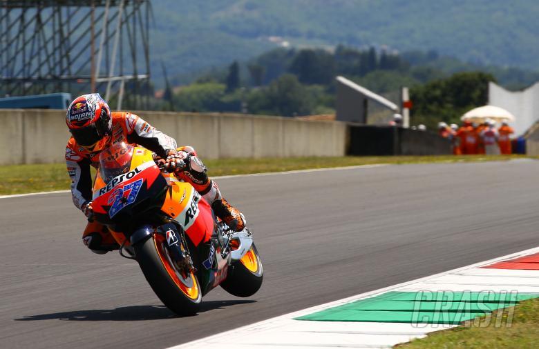 Stoner, back wheel in air, Italian MotoGP 2011