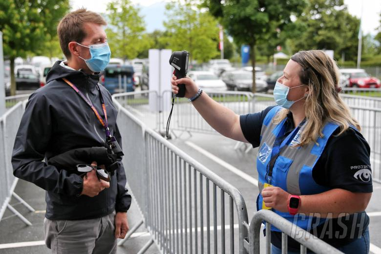 Circuit atmosphere - Laurent Charniaux (BEL) XPB Images Photographer has temperature checked at circuit entrance.