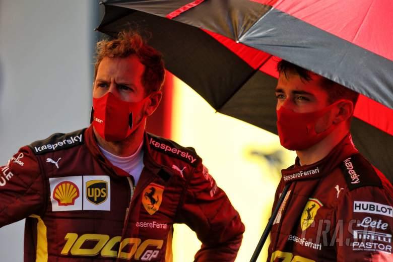 (L to R): Sebastian Vettel (GER) Ferrari with team mate Charles Leclerc (MON) Ferrari.