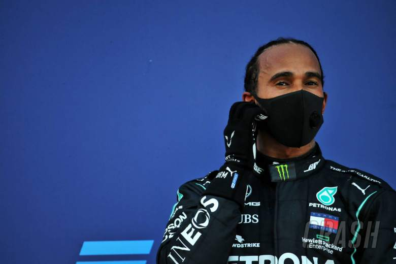 Third placed Lewis Hamilton (GBR) Mercedes AMG F1 on the podium.