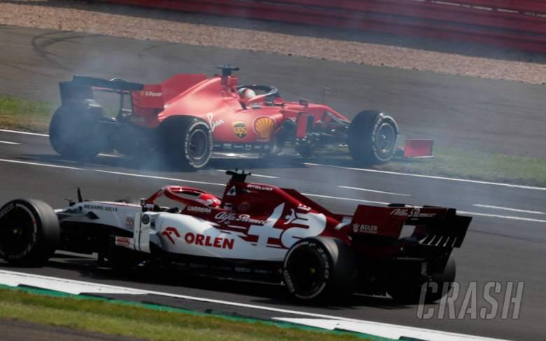 Sebastian Vettel (GER) Ferrari SF1000 spins at the start of the race, avoided by Kimi Raikkonen (FIN) Alfa Romeo Racing C39.
