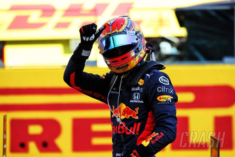 Alexander Albon (THA) Red Bull Racing celebrates his third position in parc ferme.