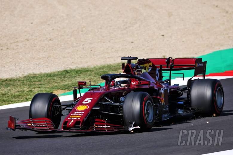 Sebastian Vettel (GER) Ferrari SF1000 with a broken front wing.