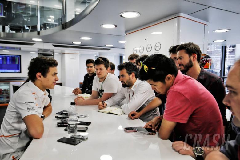 Lando Norris (GBR) McLaren Test Driver with the media. 16.05.2018.