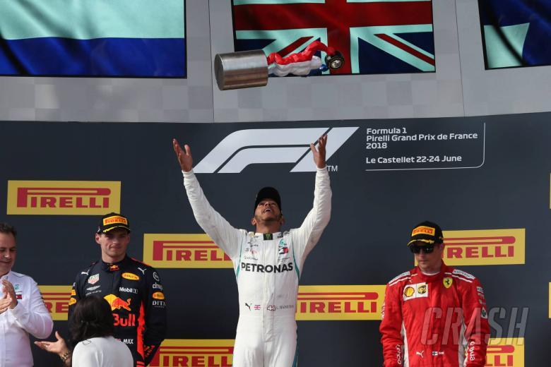 24.06.2018- podium, winner Lewis Hamilton (GBR) Mercedes AMG F1 W09 , 2nd place Max Verstappen (NED) Red Bull Racing RB14 3rd place Kimi Raikkonen (FIN) Scuderia Ferrari SF71H