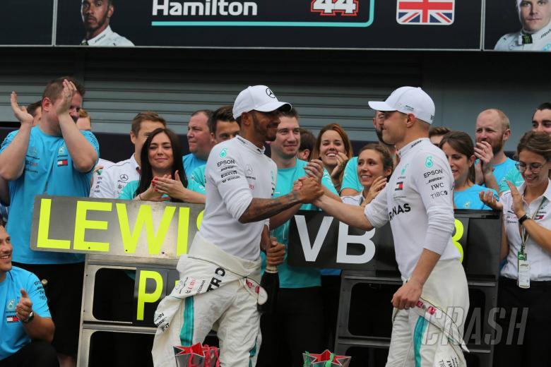 02.09.2018 - Race, Celebration, Lewis Hamilton (GBR) Mercedes AMG F1 W09 race winner and Valtteri Bottas (FIN) Mercedes AMG F1 W09 3rd place