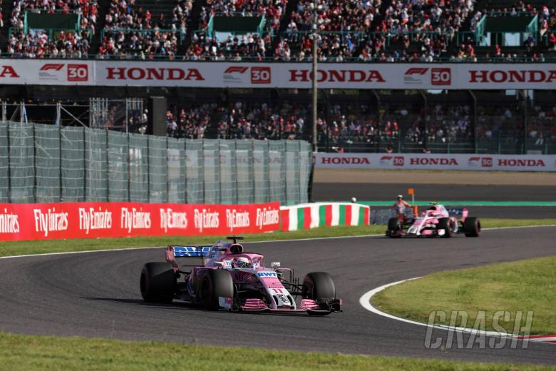 07.10.2018 - Race, Sergio Perez (MEX) Racing Point Force India F1 VJM11 leads Esteban Ocon (FRA) Racing Point Force India F1 VJM11