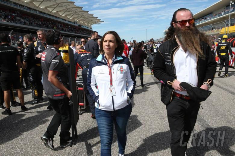 21.10.2018- Claire Williams (GBR) Williams Deputy Team Principal. and William Storey of Rich Energy drinks