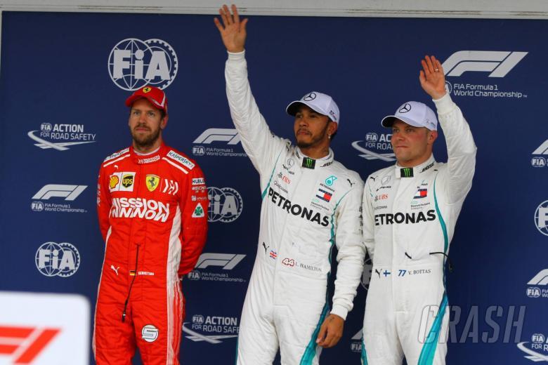 10.11.2018 - Qualifying, 2nd place Sebastian Vettel (GER) Scuderia Ferrari SF71H, Lewis Hamilton (GBR) Mercedes AMG F1 W09 pole position and 3rd place Valtteri Bottas (FIN) Mercedes AMG F1 W09