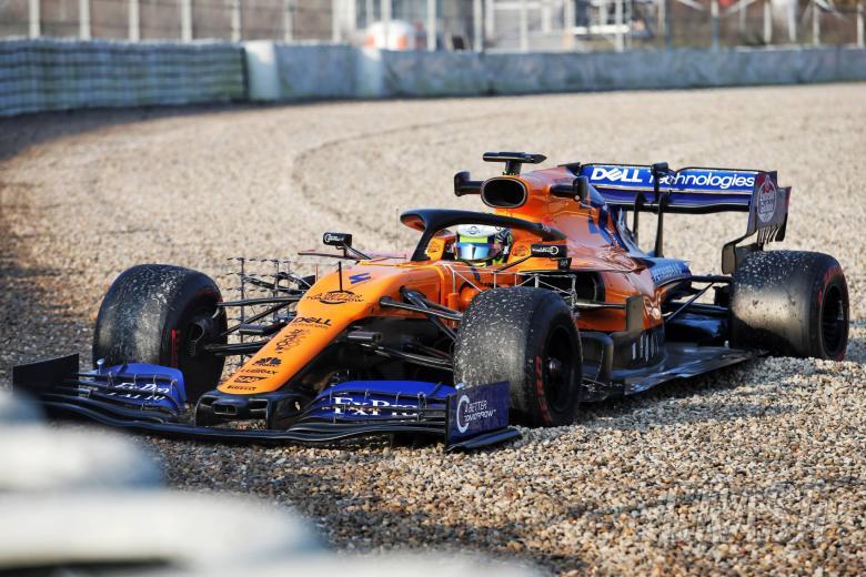 Lando Norris (GBR) McLaren MCL34 in the gravel trap. 21.02.2019.