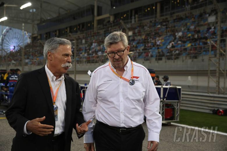 31.03.2019- Ross Brawn (GBR) Formula One Managing Director of Motorsports and Chase Carey (US), Liberty Media