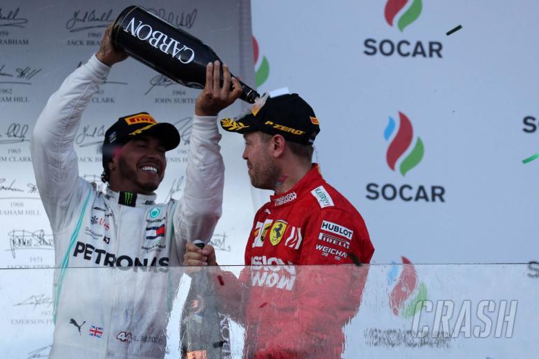 28.04.2019 - Race, 2nd place Lewis Hamilton (GBR) Mercedes AMG F1 W10 and 3rd place Sebastian Vettel (GER) Scuderia Ferrari SF90