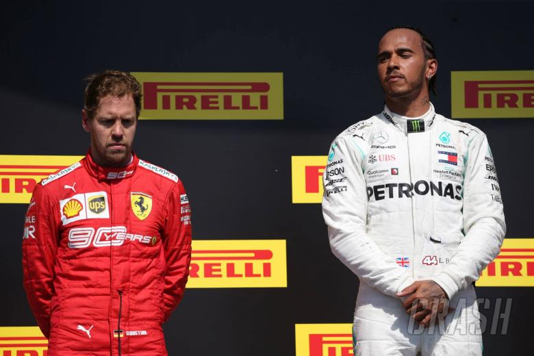 09.06.2019 - Race, 2nd place Sebastian Vettel (GER) Scuderia Ferrari SF90 and Lewis Hamilton (GBR) Mercedes AMG F1 W10 race winner