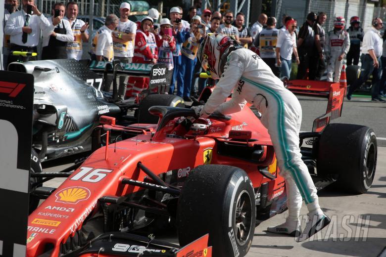 08.09.2019 - Race, Charles Leclerc (MON) Scuderia Ferrari SF90 race winner and 3rd place Lewis Hamilton (GBR) Mercedes AMG F1 W10