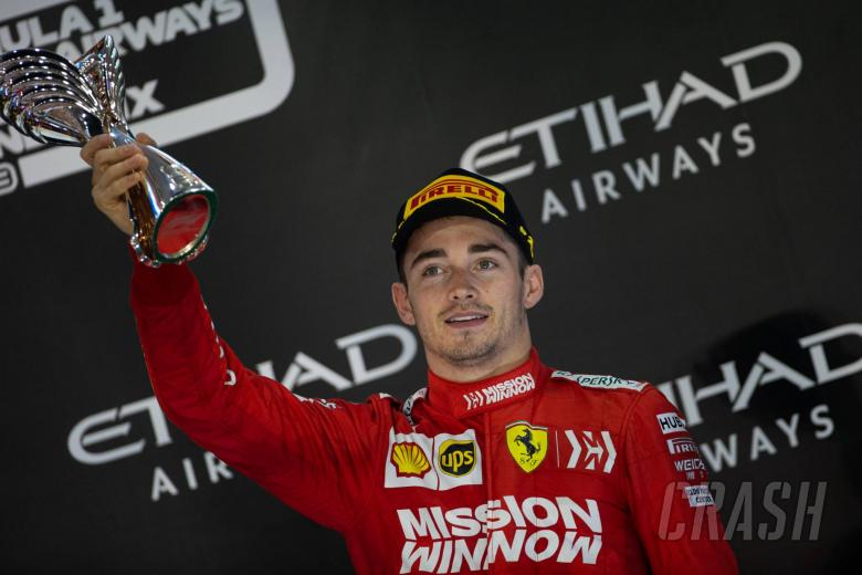 Charles Leclerc (MON) Ferrari celebrates his third position on the podium. 01.12.2019.