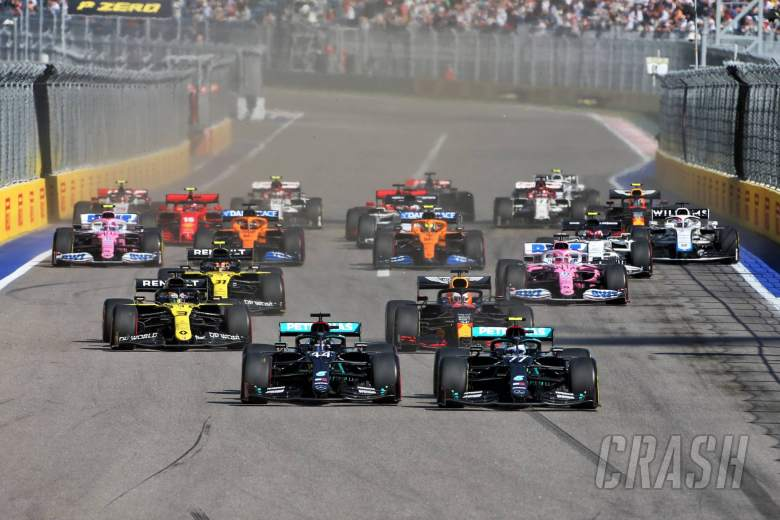 (L to R): Lewis Hamilton (GBR) Mercedes AMG F1 and Valtteri Bottas (FIN) Mercedes AMG F1 W11 at the start of the race.