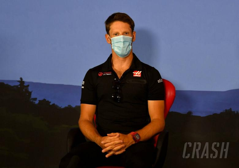 Romain Grosjean (FRA) Haas F1 Team in the FIA Press Conference.