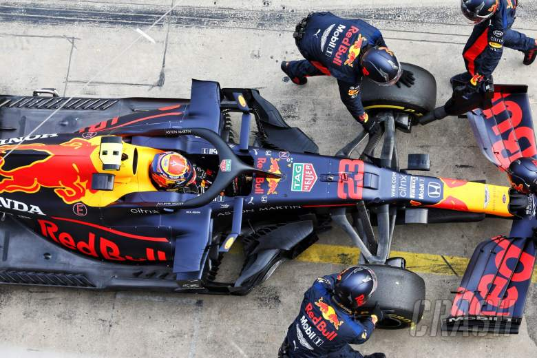 Alexander Albon (THA) Red Bull Racing RB16 retired from the race.