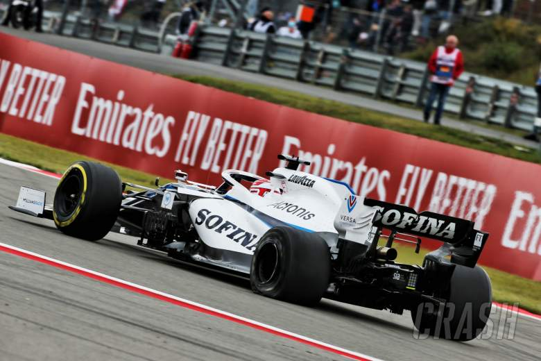 George Russell (GBR) Williams Racing FW43 with a puncture.