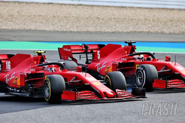Charles Leclerc (MON) Ferrari SF1000 and team mate Sebastian Vettel (GER) Ferrari SF1000 battle for position.