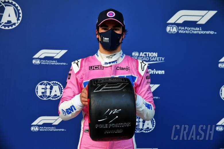 Lance Stroll (CDN) Racing Point F1 Team celebrates with the Pirelli Pole Position Award in parc ferme.