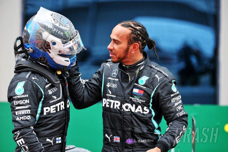 Race winner Lewis Hamilton (GBR) Mercedes AMG F1 celebrates winning his seventh World Championship in parc ferme with team mate Valtteri Bottas (FIN) Mercedes AMG F1.