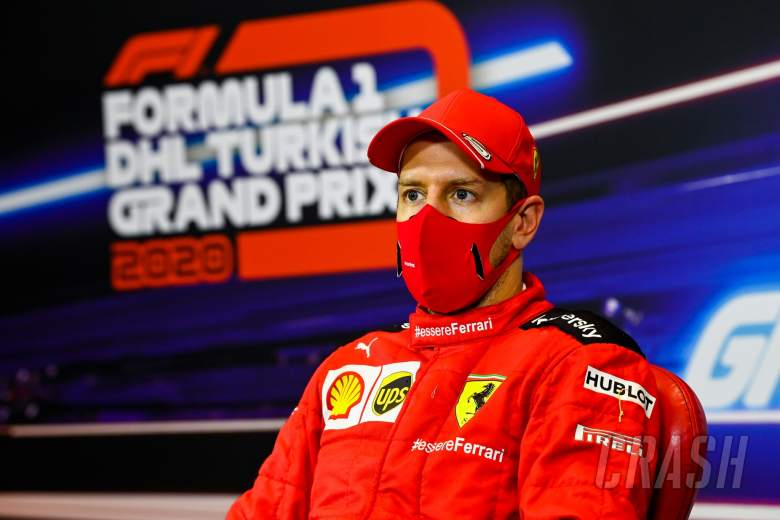 Sebastian Vettel (GER) Ferrari in the post race FIA Press Conference.