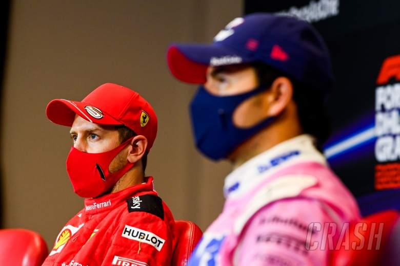 (L to R): Sebastian Vettel (GER) Ferrari and Sergio Perez (MEX) Racing Point F1 Team in the post race FIA Press Conference.