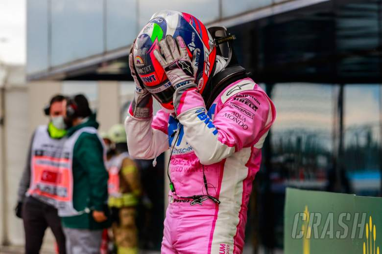 Sergio Perez (MEX) Racing Point F1 Team celebrates his second position in parc ferme.