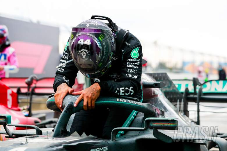 Race winner and World Champion Lewis Hamilton (GBR) Mercedes AMG F1 W11 celebrates in parc ferme.
