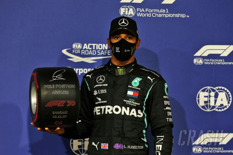 Lewis Hamilton (GBR) Mercedes AMG F1 celebrates with the Pirelli Pole Position Award in parc ferme.