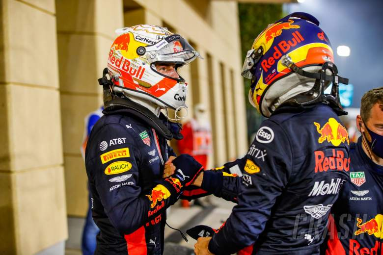 (L to R): Max Verstappen (NLD) Red Bull Racing celebrates his second position with third placed team mate Alexander Albon (THA) Red Bull Racing.