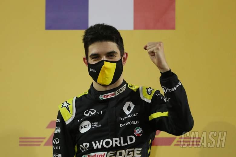 Esteban Ocon (FRA) Renault F1 Team celebrates his second position on the podium.